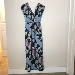 Floral and stripe maxi dress